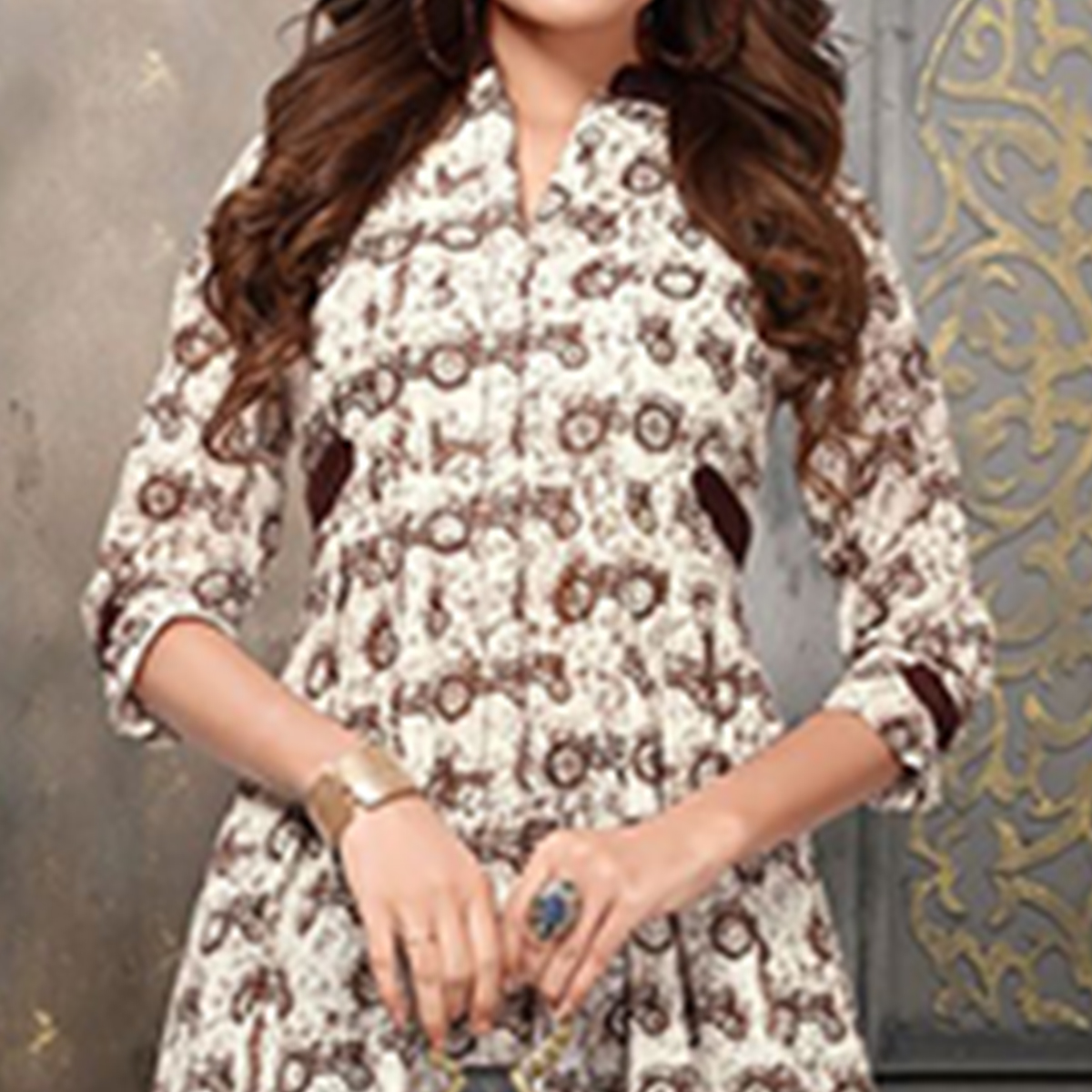 Delightful Off White-Brown Colored Party Wear Digital Printed Heavy Rayon Kurti