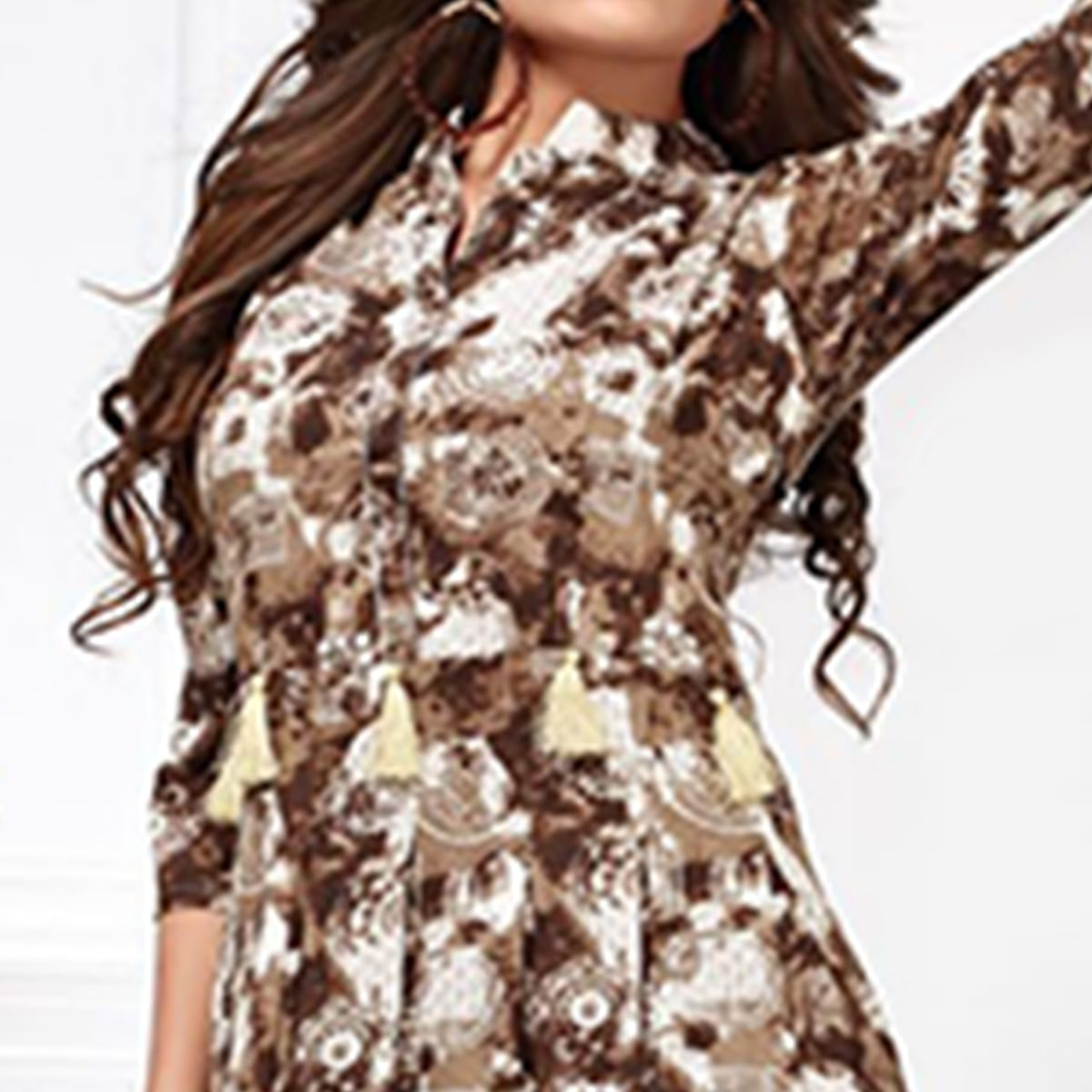 Stunning Brown Colored Party Wear Digital Printed Heavy Rayon Kurti