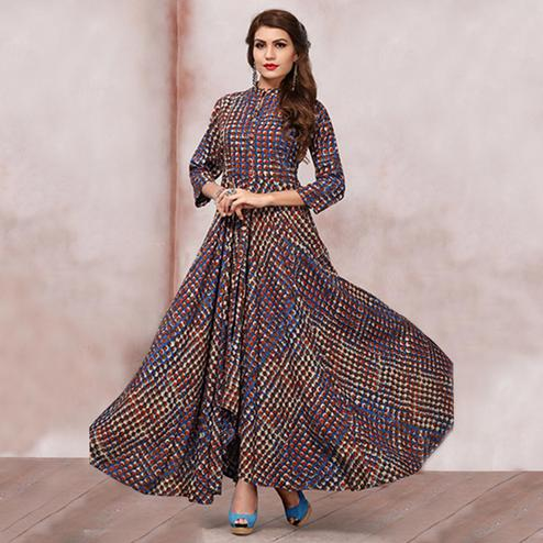Blooming Multicolored Party Wear Digital Printed Heavy Rayon Kurti