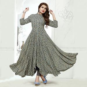 Marvellous Grey Colored Party Wear Digital Printed Heavy Rayon Kurti
