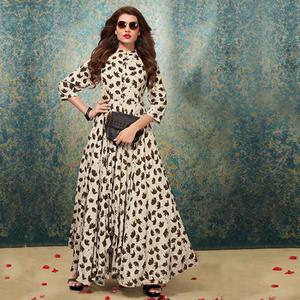 Mesmerising Cream Colored Party Wear Digital Printed Heavy Rayon Kurti