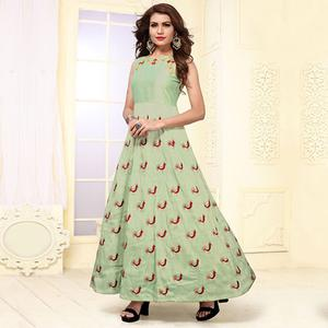 Eye-catching Sea Green Colored Party Wear Embroidered Mulberry Silk Kurti