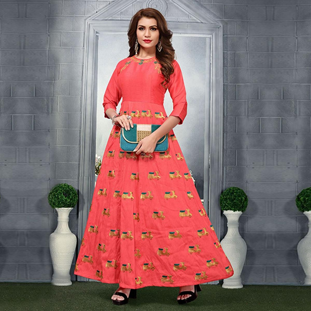 Amazing Pink Colored Party Wear Embroidered Art Silk Kurti