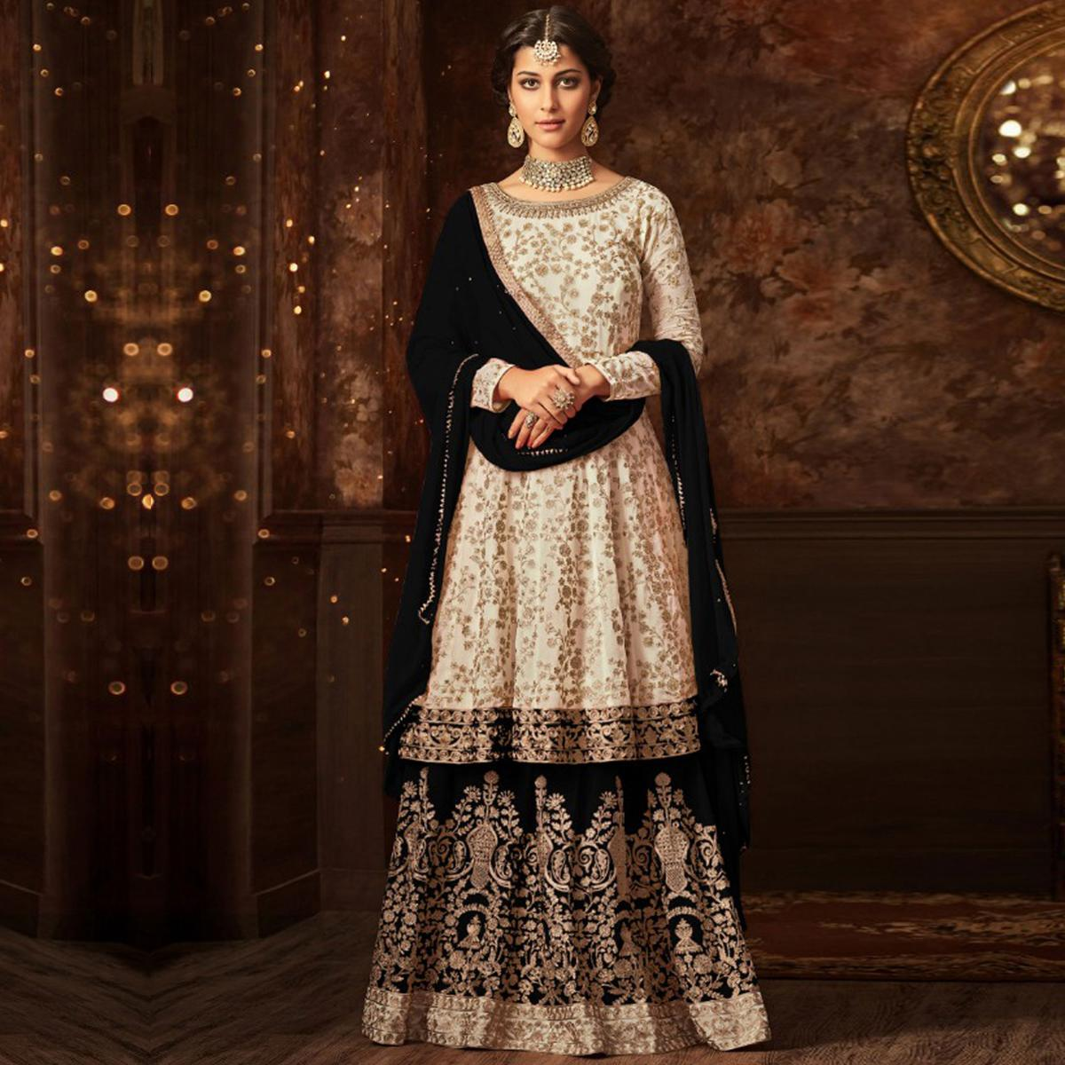 Marvellous White-Black Colored Partywear Embroidered Georgette Palazzo Suit