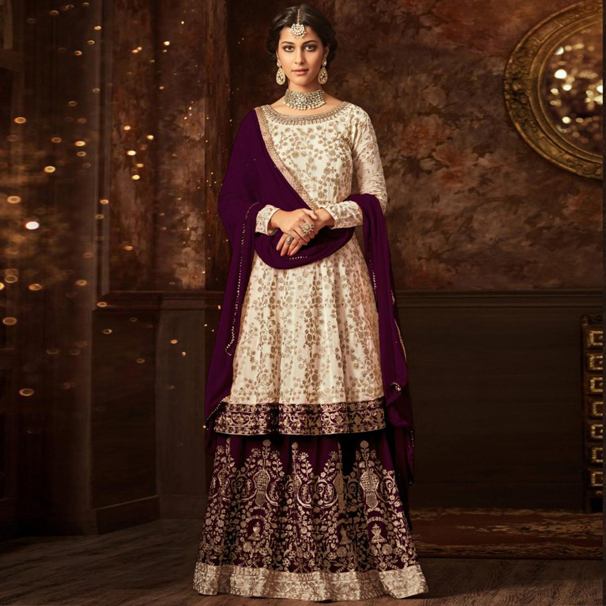 Stunning White-Purple Colored Partywear Embroidered Georgette Palazzo Suit