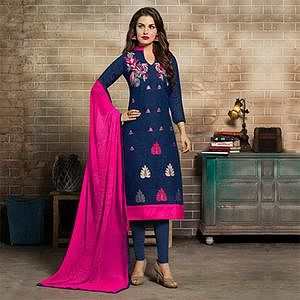 Gorgeous Navy Blue Embroidered Jacquard Salwar Suit