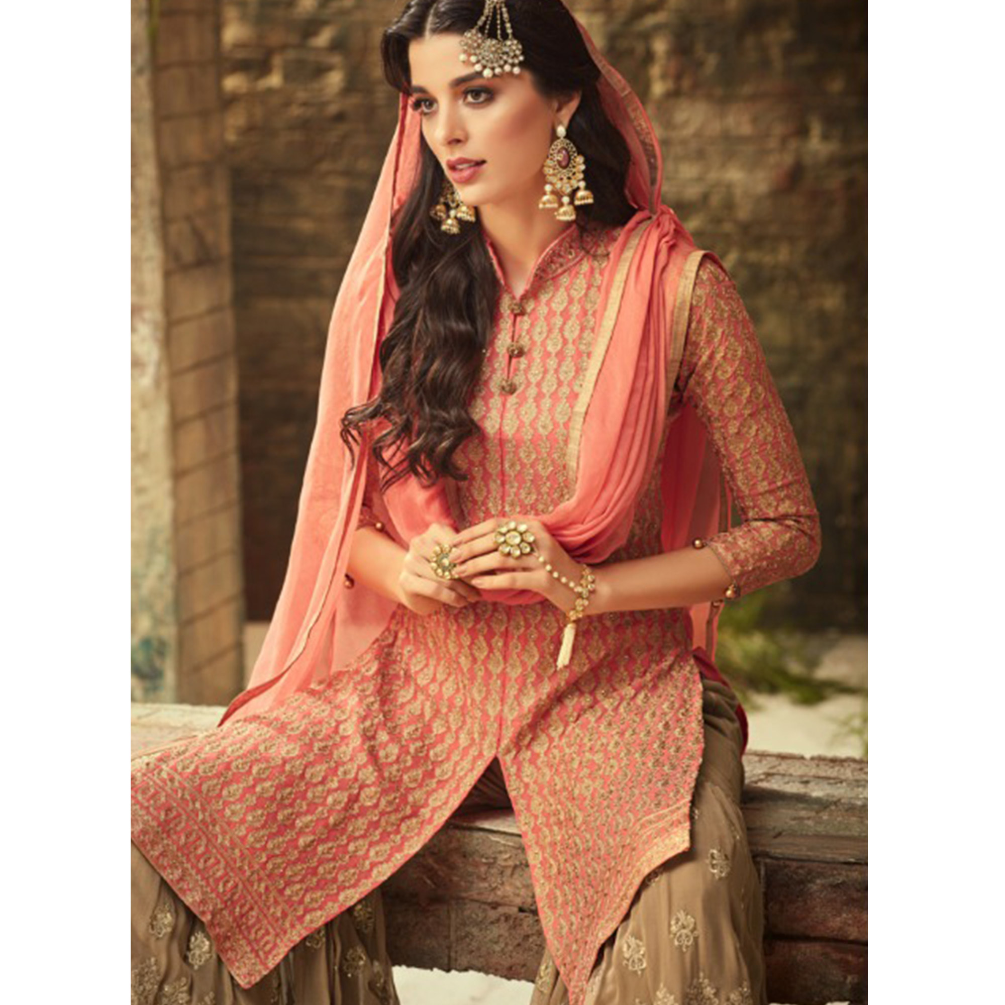 Sophisticated Pink-Light Brown Colored Partywear Embroidered Georgette Palazzo Suit