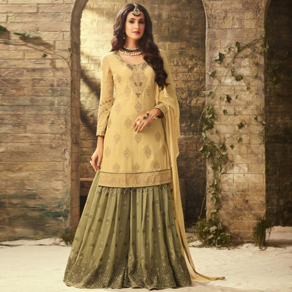 Exceptional Yellow-Olive Green Colored Partywear Embroidered Georgette Palazzo Suit