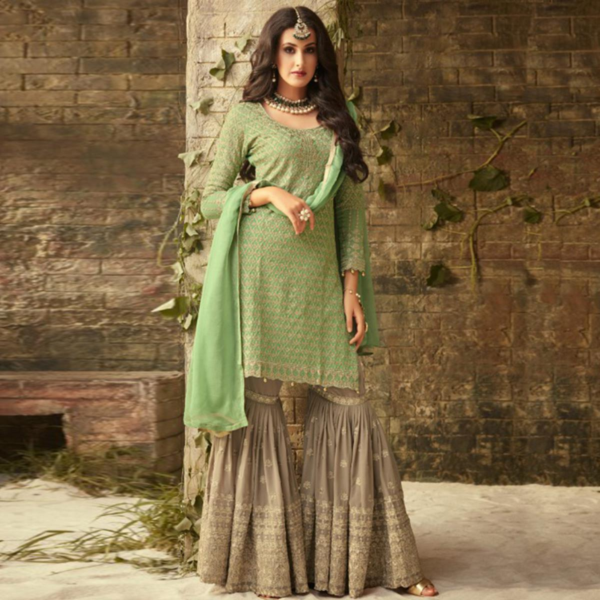 Stunning Pista Green-Gray Colored Partywear Embroidered Georgette Palazzo Suit