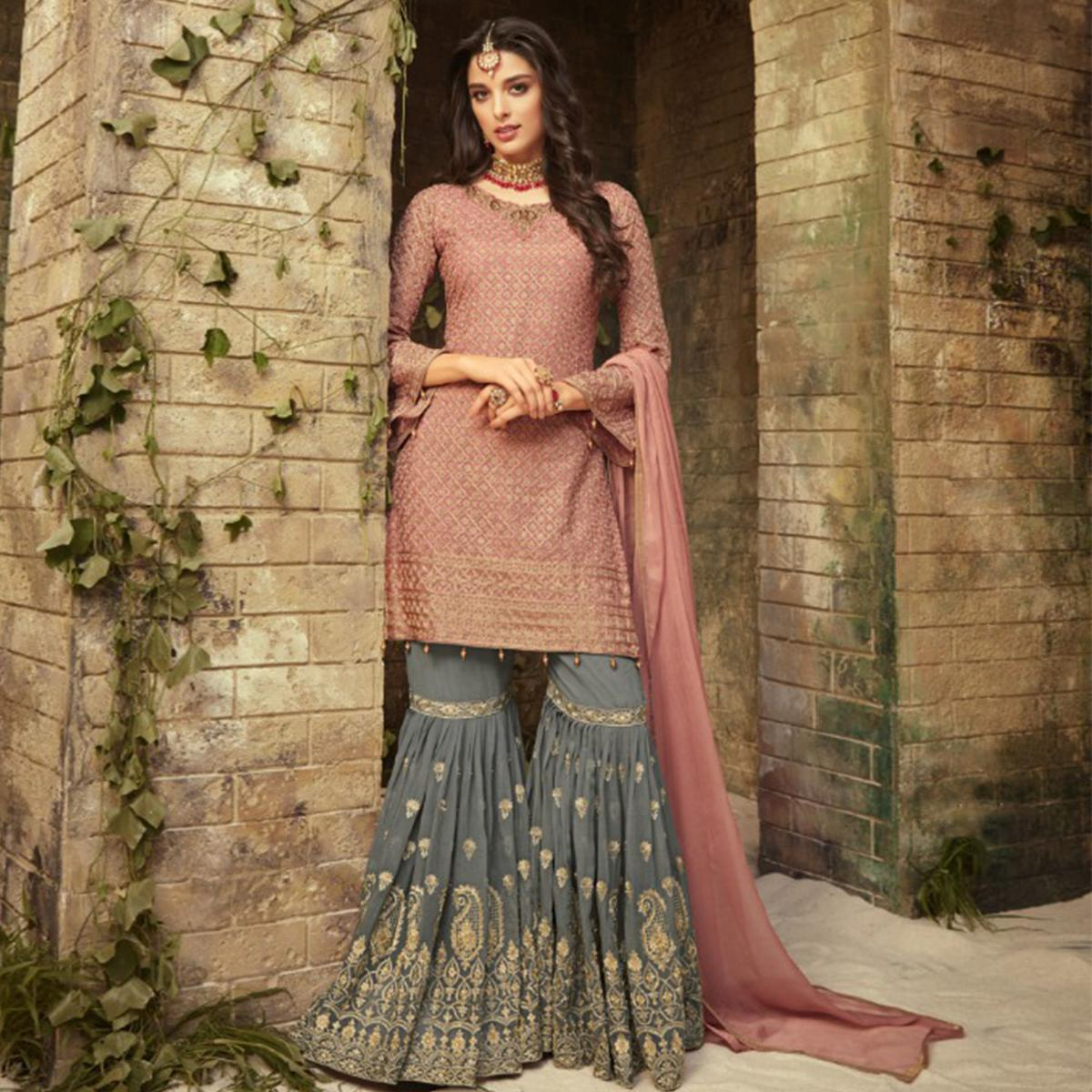 Eye-Catching Pink-Gray Colored Partywear Embroidered Georgette Palazzo Suit