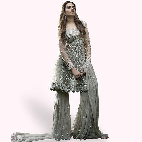 Stunning Slate Gray Colored Partywear Embroidered Netted Palazzo Suit
