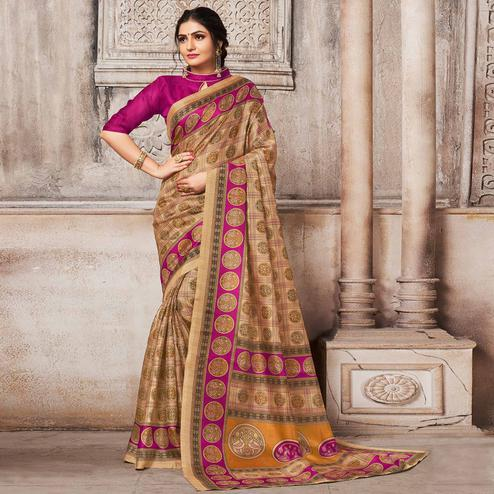 Mesmeric Beige-Pink Colored Madhubani Printed Khadi Silk Saree