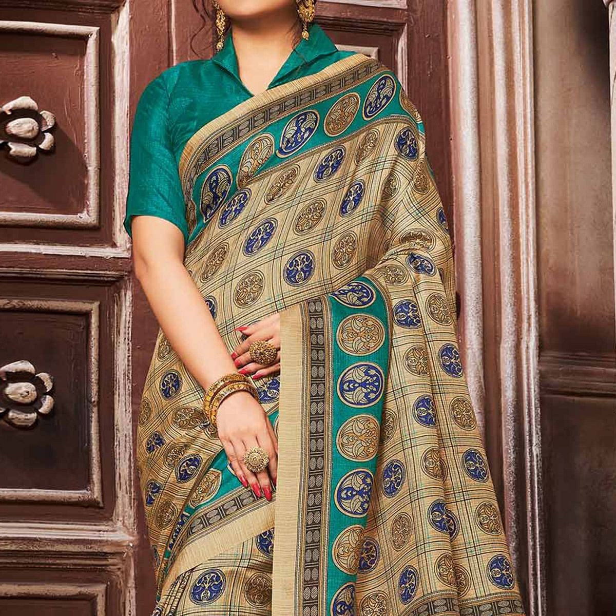 Magnetic Beige-Green Colored Madhubani Printed Khadi Silk Saree