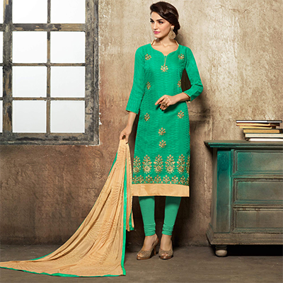 Classy Green Embroidered Salwar Suit