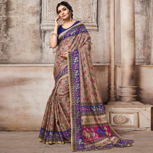 Favorite Beige-Blue Colored Madhubani Printed Khadi Silk Saree