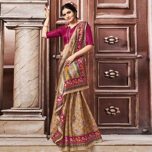 Demanding Beige-Pink Colored Madhubani Printed Khadi Silk Saree