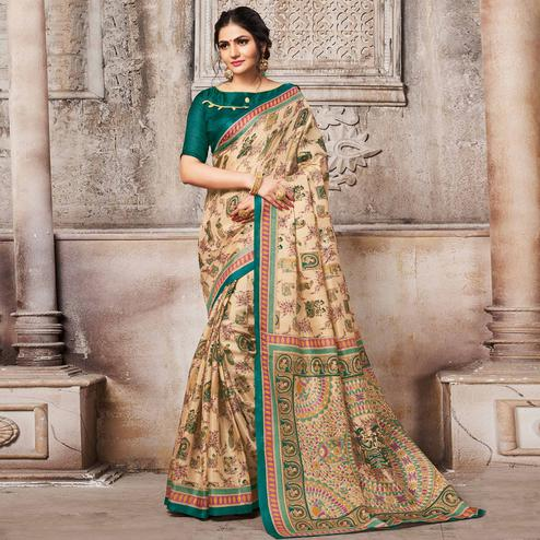 Desiring Beige-Teal Green Colored Madhubani Printed Khadi Silk Saree