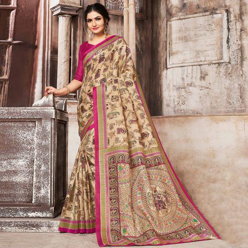 Groovy Beige-Pink Colored Madhubani Printed Khadi Silk Saree