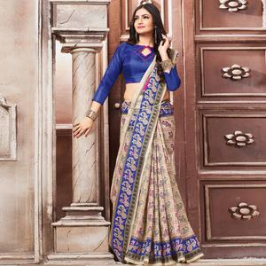 Attractive Cream-Blue Colored Madhubani Printed Khadi Silk Saree