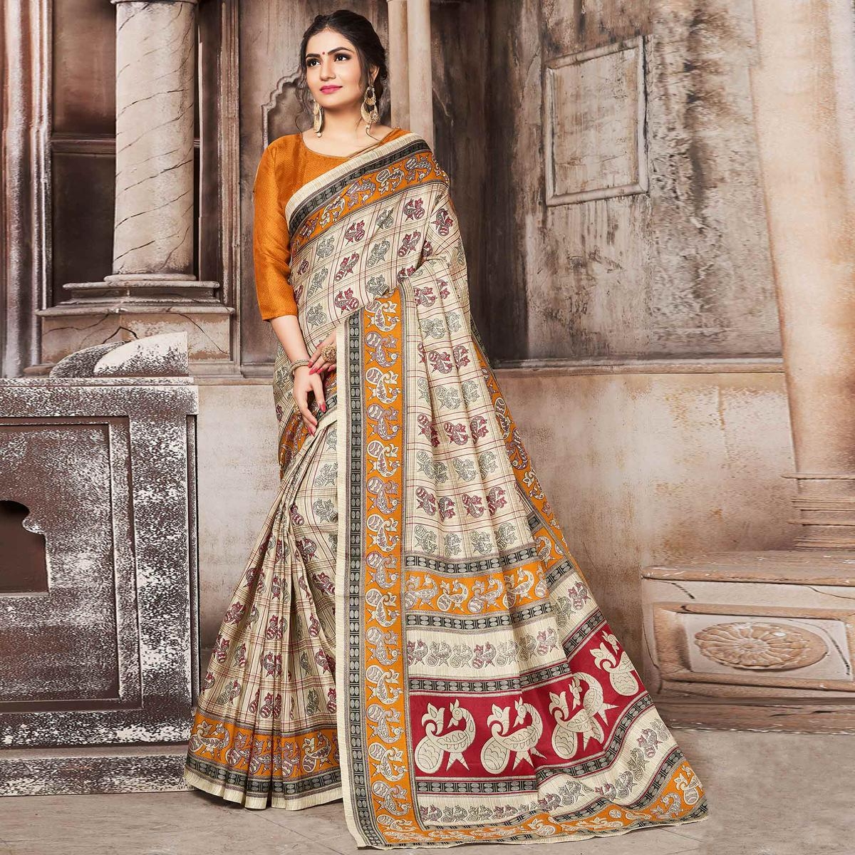 Eye-Catching Cream-Yellow Colored Madhubani Printed Khadi Silk Saree