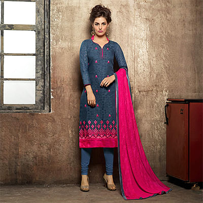 Elegant Stone Blue Embroidered Semi Stitched Suit