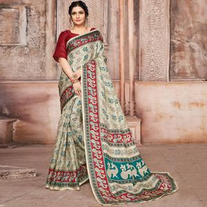 Fab Cream-Maroon Colored Madhubani Printed Khadi Silk Saree