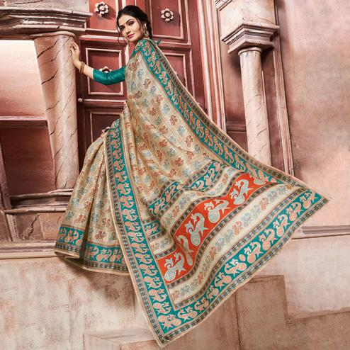 Sophisticated Cream-Teal Green Colored Madhubani Printed Khadi Silk Saree