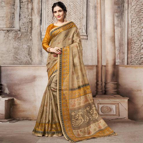 Staring Chiku-Yellow Colored Madhubani Printed Khadi Silk Saree