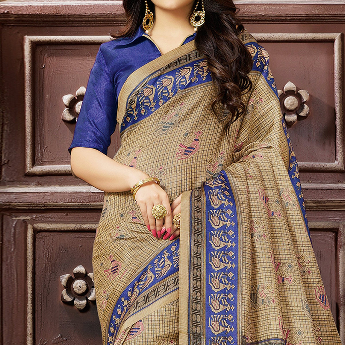 Unique Chiku-Blue Colored Madhubani Printed Khadi Silk Saree