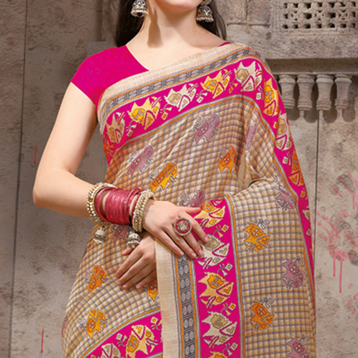 Adorable Beige - Pink Festive Wear Madhubani Printed Khadi Silk Saree