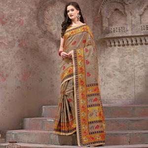 Attractive Beige - Yellow Festive Wear Madhubani Printed Khadi Silk Saree