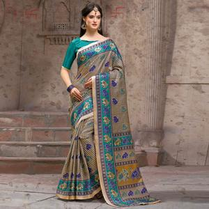 Beautiful Beige - Blue Festive Wear Madhubani Printed Khadi Silk Saree