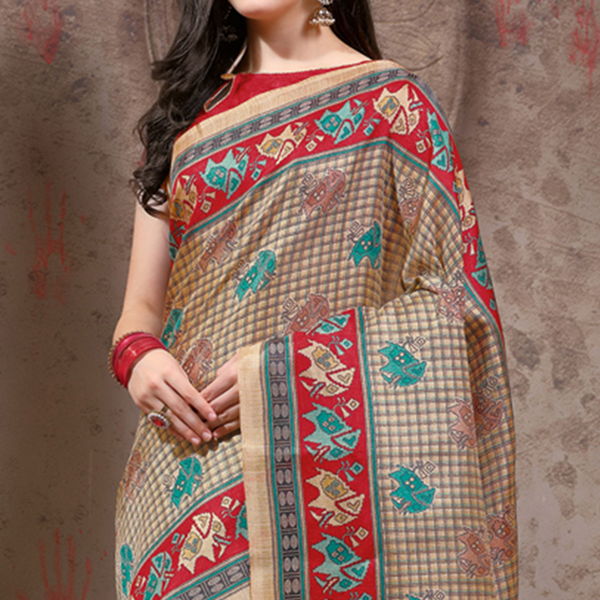 Gorgeous Beige - Red Festive Wear Madhubani Printed Khadi Silk Saree