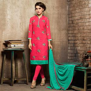 Beautiful Pink Embroidered Jacquard Semi Stitched Suit