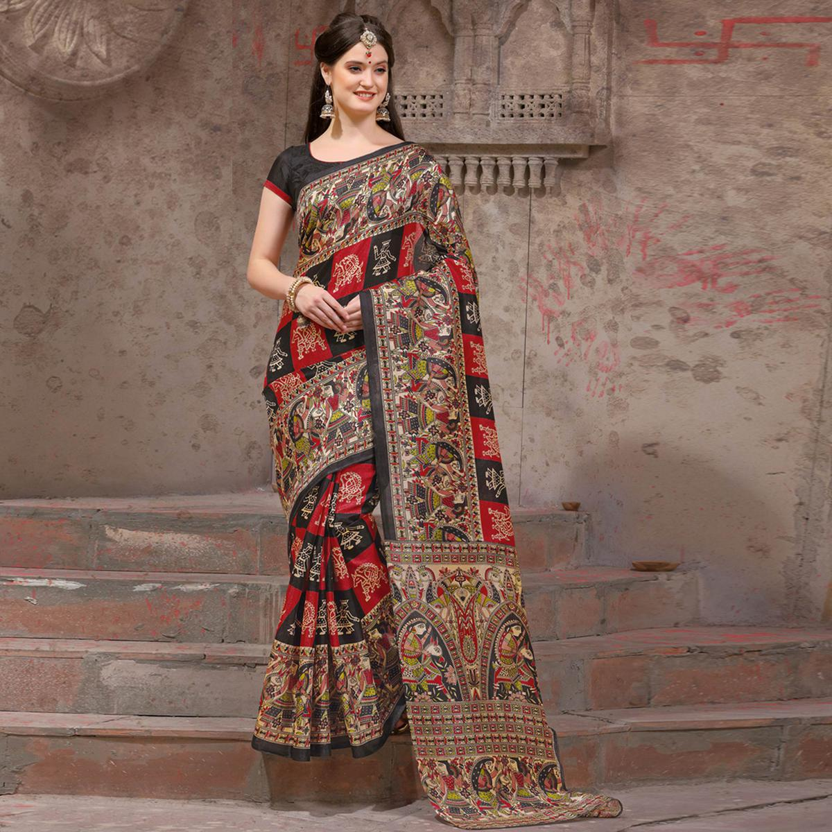 Classy Black - Red Festive Wear Madhubani Printed Khadi Silk Saree