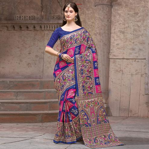 Glorious Blue - Pink Festive Wear Madhubani Printed Khadi Silk Saree