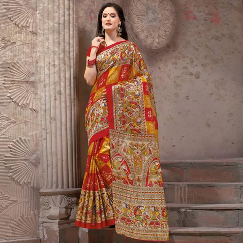 Graceful Red - Yellow Festive Wear Madhubani Printed Khadi Silk Saree