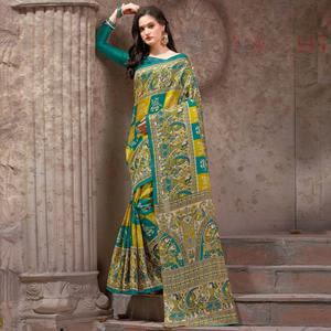 Lovely Green Festive Wear Madhubani Printed Khadi Silk Saree