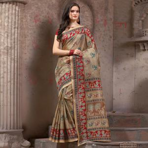 Blooming Beige - Red Festive Wear Madhubani Printed Khadi Silk Saree