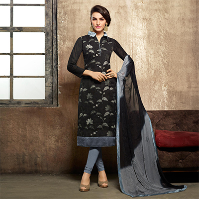 Adorable Black & Grey Embroidered Work Suit