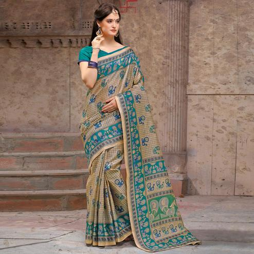 Marvellous Beige - Teal Green Festive Wear Madhubani Printed Khadi Silk Saree
