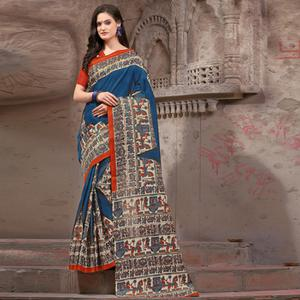 Ravishing Navy Blue Festive Wear Madhubani Printed Khadi Silk Saree