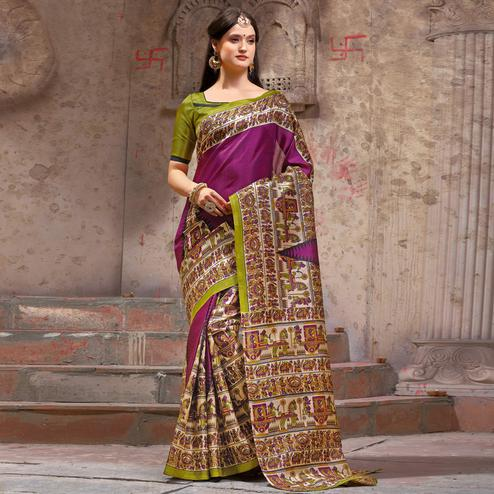 Eye-catching Purple Festive Wear Madhubani Printed Khadi Silk Saree