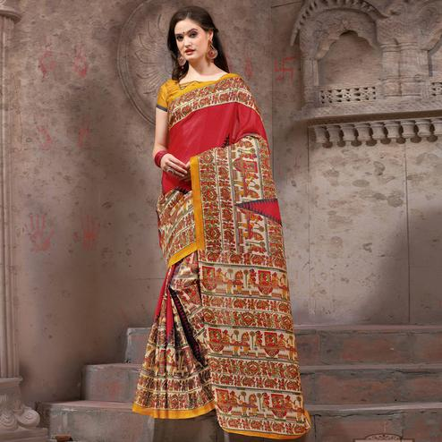 Amazing Red Festive Wear Madhubani Printed Khadi Silk Saree