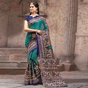 Alluring Teal Green Festive Wear Madhubani Printed Khadi Silk Saree