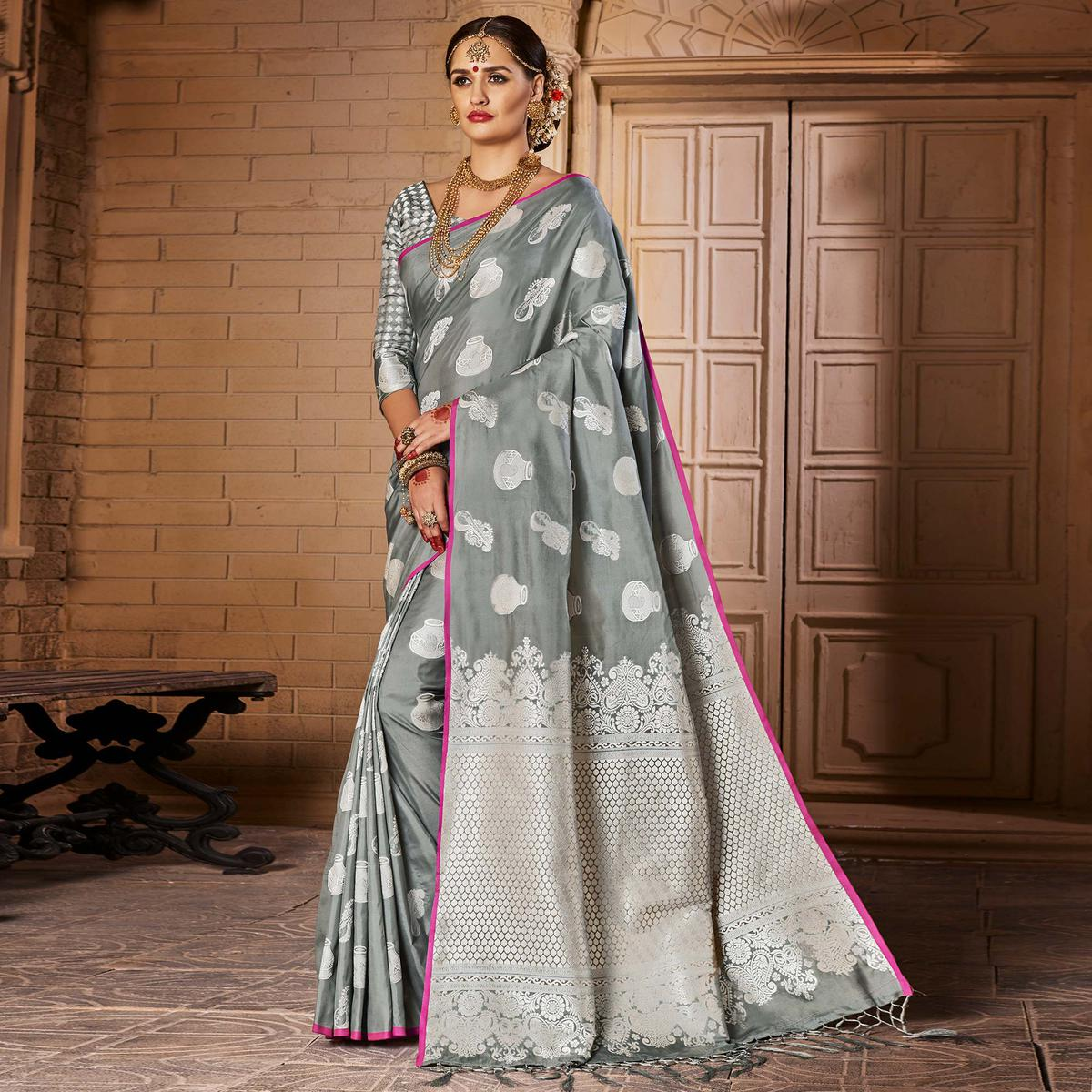 Captivating Grey Colored Festive Wear Woven Silk Saree