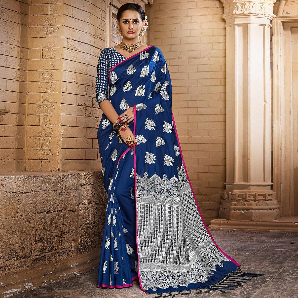 c4ffcab1c398c Buy Flirty Navy Blue Colored Festive Wear Woven Silk Saree for womens  online India
