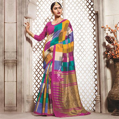 Multicolored Casual Wear Bhagalpuri Saree