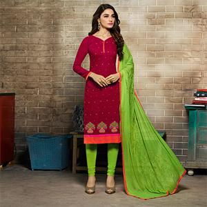 Impressive Maroon & Green Embroidered Jacquard Salwar Suit