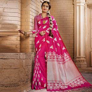 Fantastic Dark Pink Colored Festive Wear Woven Silk Saree